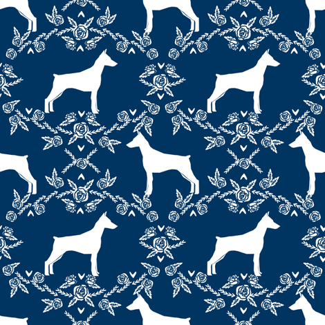 Doberman Pinscher silhouette floral navy fabric by petfriendly on Spoonflower - custom fabric