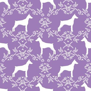 Doberman Pinscher silhouette floral purple