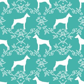 Doberman Pinscher silhouette floral turquoise
