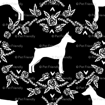 Doberman Pinscher silhouette floral black and white