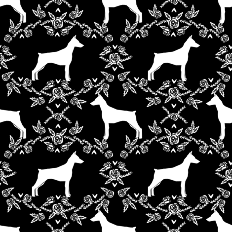 Doberman Pinscher silhouette floral black and white fabric by petfriendly on Spoonflower - custom fabric