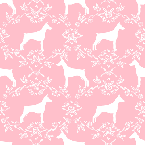 Doberman Pinscher silhouette floral pink fabric by petfriendly on Spoonflower - custom fabric