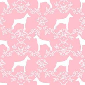 Doberman Pinscher silhouette floral pink