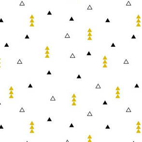 Cool Scandinavian style mini triangle geometric arrow print gender neutral mustard yellow