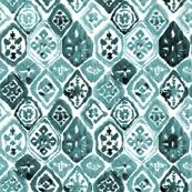 "8"" Green Shibori Mosaic / White Background"