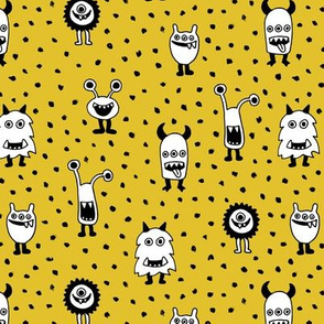 Super freaky monsters cool quirky fantasy creatures gender neutral mustard yellow