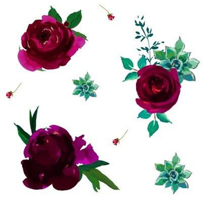Dark Hue Roses with Succulents