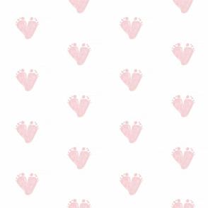 Baby Footprint heart shape  pink