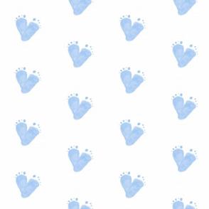 Baby Footprint heart shape  blue
