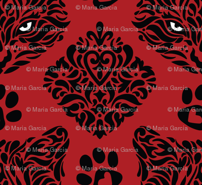 Mystic Cat Damask - Red Background
