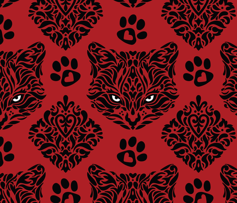 Mystic Cat Damask - Red Background  fabric by mariafaithgarcia on Spoonflower - custom fabric