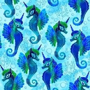 Blue Watercolor Sea Unicorns
