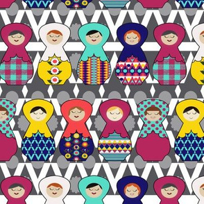 Nesting Dolls on grey detail