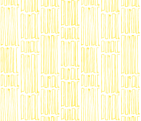 Gandy Thin Purple in Yellow fabric by gandy_letters on Spoonflower - custom fabric