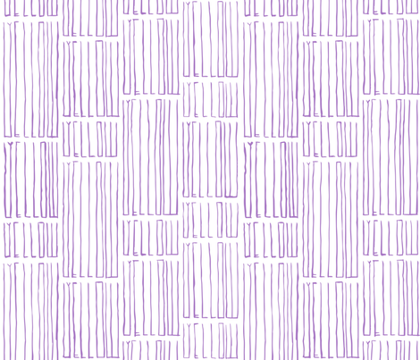 Gandy Thin Yellow in Purple fabric by gandy_letters on Spoonflower - custom fabric