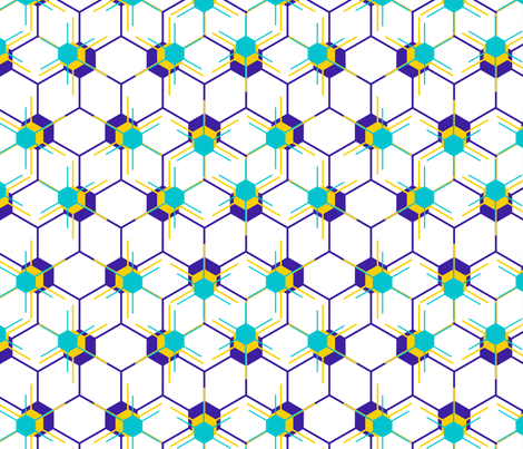 Hexstars in Blue and Yellow fabric by chiral on Spoonflower - custom fabric
