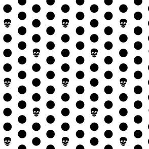 Skull Dots on White L