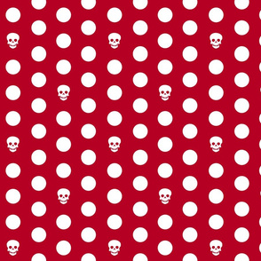 Skull Dots on Red L