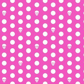 Skull Dots on Pink L