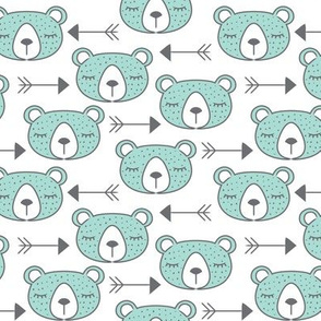 arrows and teal bears on white