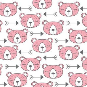 arrows and pink bears on white