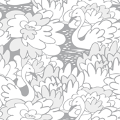 Swans and Water Lily Flowers Grey