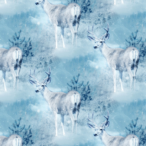 deer in winter forest fabric by stofftoy on Spoonflower - custom fabric