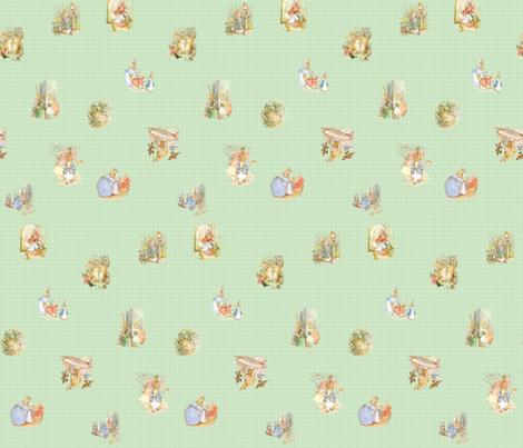 Peter Rabbit Tossed Soft Green Gingham fabric by aspenartsstudio on Spoonflower - custom fabric