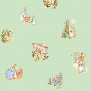 Peter Rabbit Tossed Soft Green Gingham