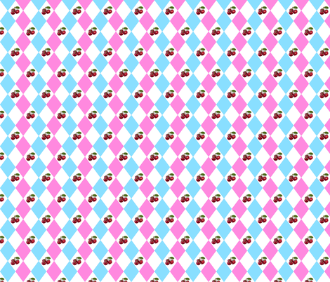 Cherry Harlequin 2 fabric by cmay_designs on Spoonflower - custom fabric