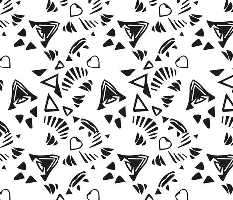corazón // black white fabric by jazzy_sazzy on Spoonflower - custom fabric