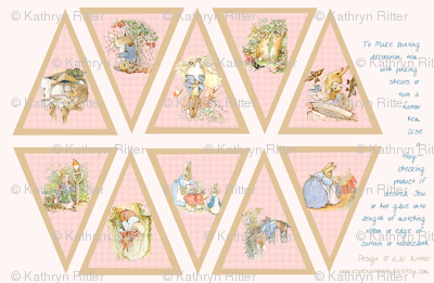 Peter Rabbit Bunting Panel - Light Pink