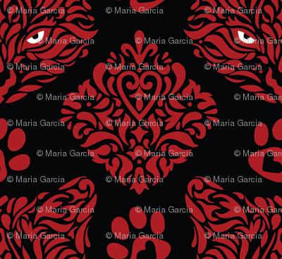 Cat Damask - Red on Black Background