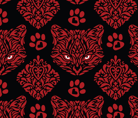 Cat Damask - Red on Black Background fabric by mariafaithgarcia on Spoonflower - custom fabric