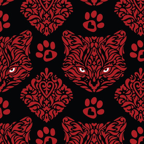 Cat Damask - Red on Black Background