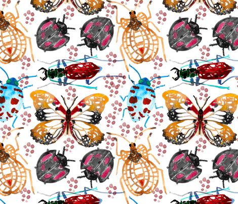 Dreamy Watercolor insects fabric by madiha_yearwood on Spoonflower - custom fabric