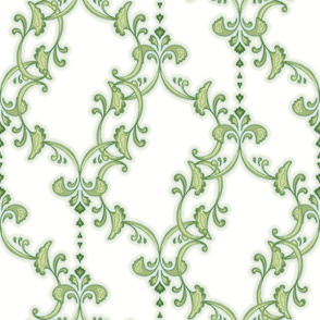 offset flourish - green and white