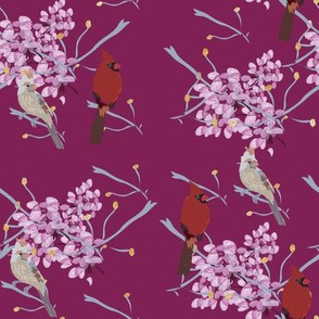 little_birds_multi_print_on_plum_cherry_blossom_w_gold_glitter