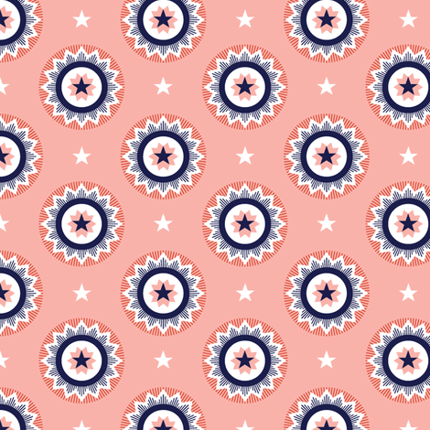 Star Spangled* (Tomato Soup) || stars starburst July 4th Independence Day patriotic red white blue bunting blue ribbon patriotism USA America fabric by pennycandy on Spoonflower - custom fabric