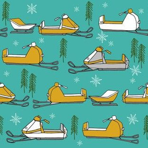 snowmobiles fabric // vintage snowmobile illustration, winter outdoors snow fabric by andrea lauren - turquoise and mustard