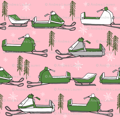 snowmobiles fabric // vintage snowmobile illustration, winter outdoors snow fabric by andrea lauren - pink and green