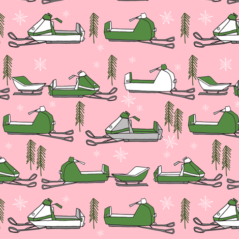 snowmobiles fabric // vintage snowmobile illustration, winter outdoors snow fabric by andrea lauren - pink and green fabric by andrea_lauren on Spoonflower - custom fabric