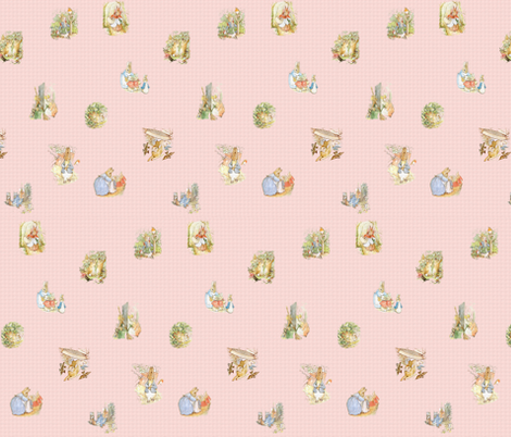 Peter Rabbit Character Toss Light Pink Gingham fabric by aspenartsstudio on Spoonflower - custom fabric