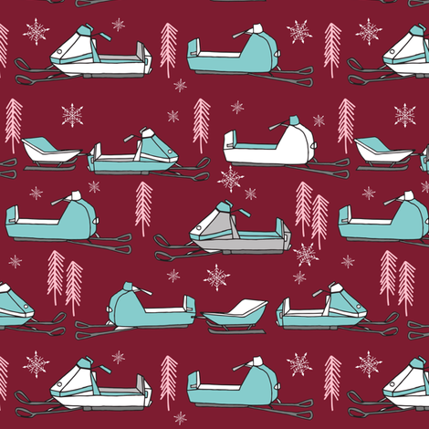 snowmobiles fabric // vintage snowmobile illustration, winter outdoors snow fabric by andrea lauren - marroon fabric by andrea_lauren on Spoonflower - custom fabric