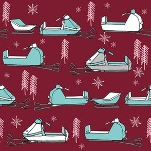 snowmobiles fabric // vintage snowmobile illustration, winter outdoors snow fabric by andrea lauren - marroon