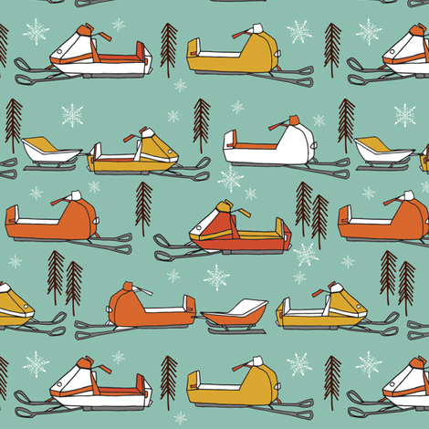 snowmobiles fabric // vintage snowmobile illustration, winter outdoors snow fabric by andrea lauren - mustard, orange fabric by andrea_lauren on Spoonflower - custom fabric