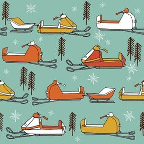 snowmobiles fabric // vintage snowmobile illustration, winter outdoors snow fabric by andrea lauren - mustard, orange