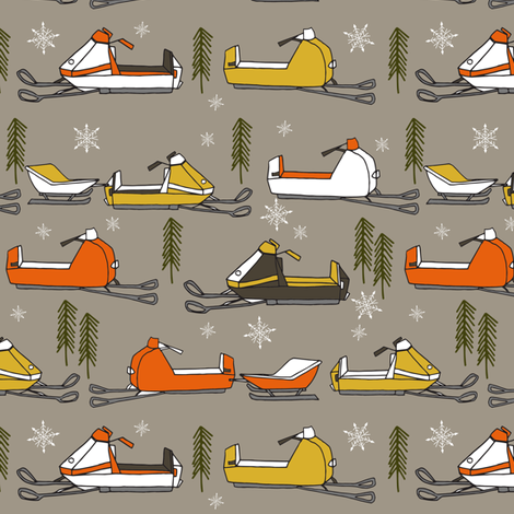 snowmobiles fabric // vintage snowmobile illustration, winter outdoors snow fabric by andrea lauren - brown fabric by andrea_lauren on Spoonflower - custom fabric
