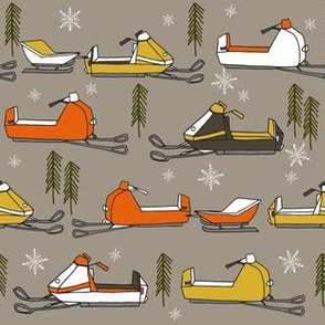 snowmobiles fabric // vintage snowmobile illustration, winter outdoors snow fabric by andrea lauren - brown