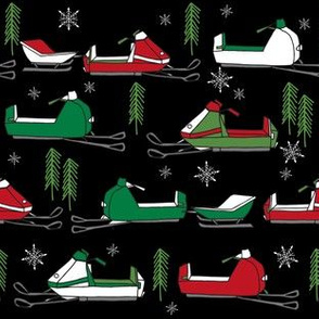 snowmobiles fabric // vintage snowmobile illustration, winter outdoors snow fabric by andrea lauren - red and green